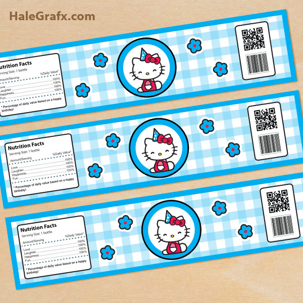 FREE Blue Printable Hello Kitty Water Bottle Labels