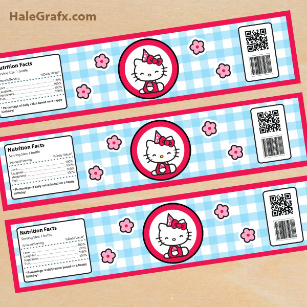 FREE Pink Printable Hello Kitty Water Bottle Labels