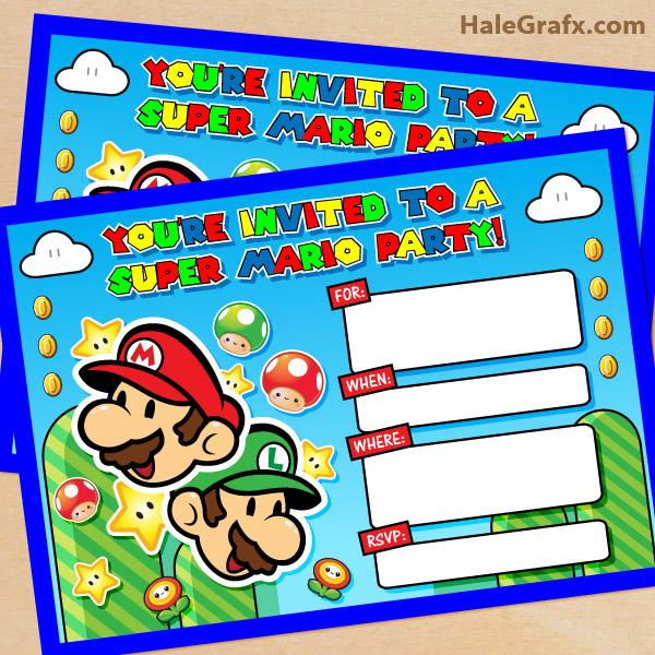 FREE Printable Super Mario Bros Birthday Party Invitation