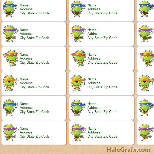 FREE Printable TMNT Ninja Turtle Address Labels  Printable Address Labels Free