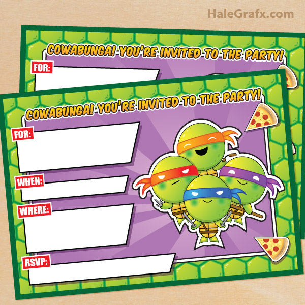 Printable TMNT Ninja Turtle Birthday Invitation – Turtle Birthday Invitations