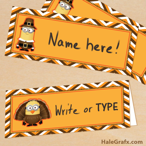 FREE Printable Despicable Me Thanksgiving Placecards