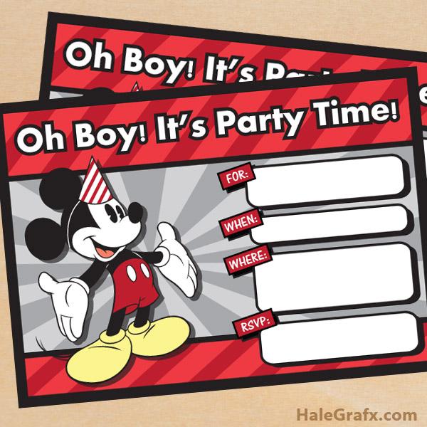 FREE Printable Vintage Mickey Mouse Birthday Invitation