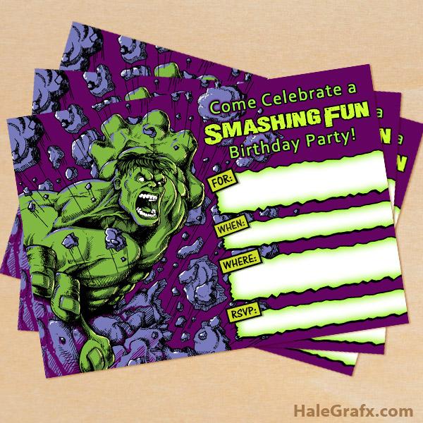 FREE Printable Incredible Hulk Birthday Invitation