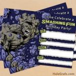 FREE Printable Grey Incredible Hulk Birthday Invitation