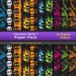 FREE Halloween Skulls Digital Paper Pack