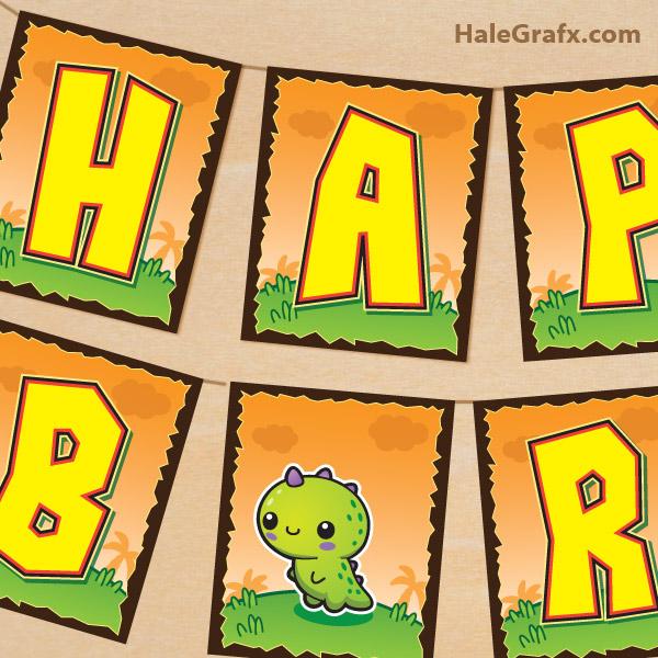 picture regarding Free Printable Birthday Signs named Cost-free Printable Kawaii Dinosaur Birthday Banner