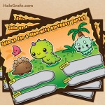 FREE Printable Kawaii Dinosaur Birthday Invitation