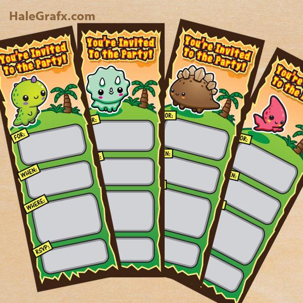 FREE Printable Kawaii Dinosaur Ticket Invitations