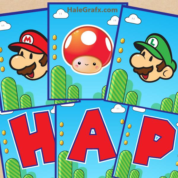 Free Printable Super Mario Bros Birthday Banner