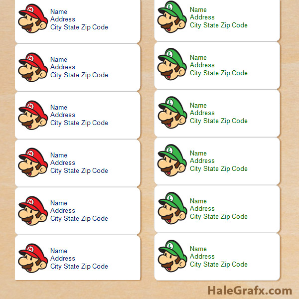 FREE Super Mario & Luigi Address Labels