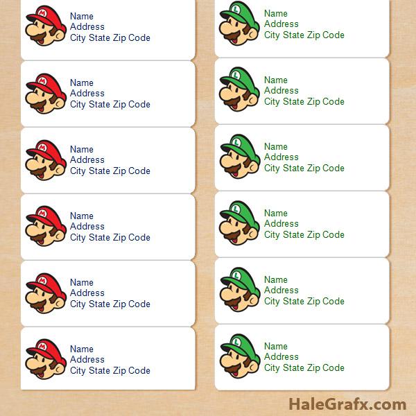 Free Super Mario Luigi Address Labels