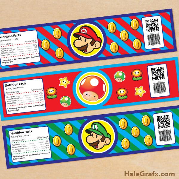 FREE Printable Super Mario Bros Water Bottle Labels