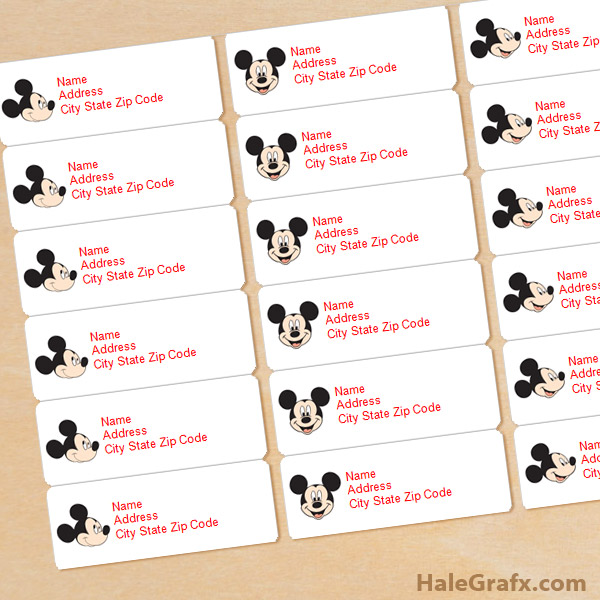 FREE Printable Mickey Mouse Address Labels  Printable Address Labels Free