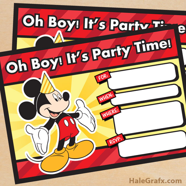 FREE Printable Mickey Mouse Birthday Invitation