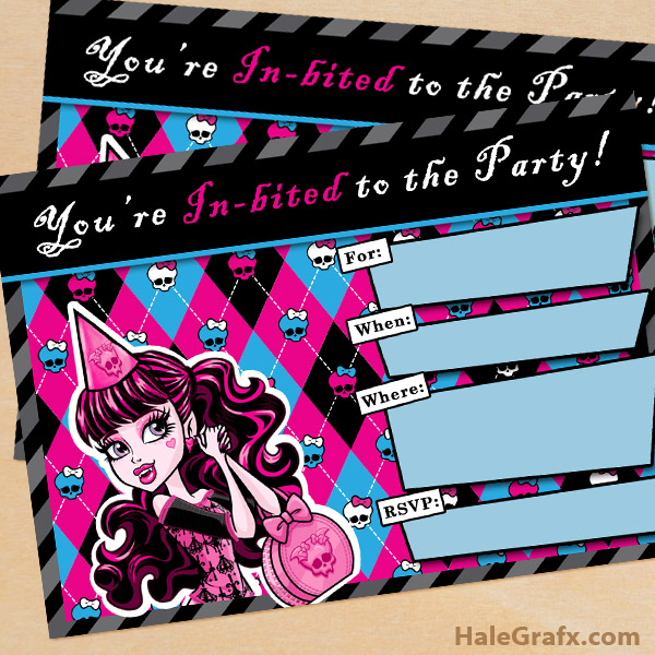 PDF Monster High Printable Invitation – Easy Type and Print Option!