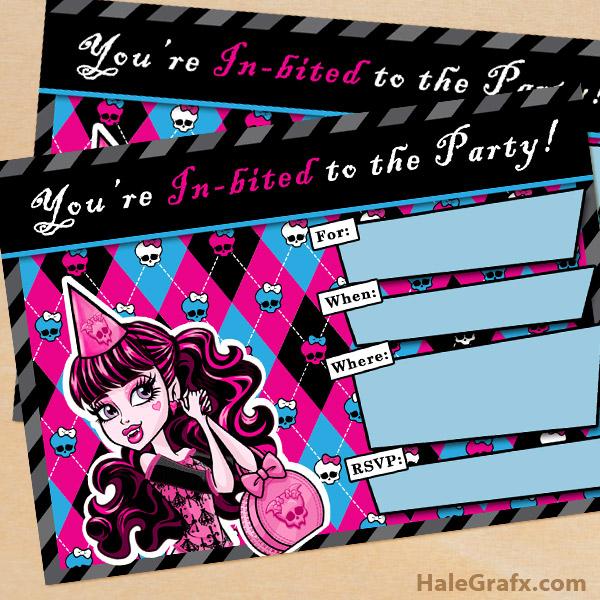 FREE Printable Monster High Birthday Invitation