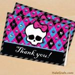 FREE Printable Monster High Thank You Card