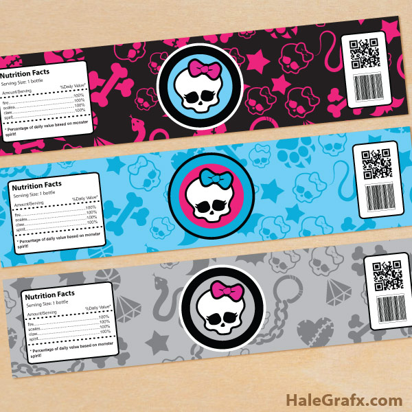 FREE Printable Monster High Water Bottle Labels