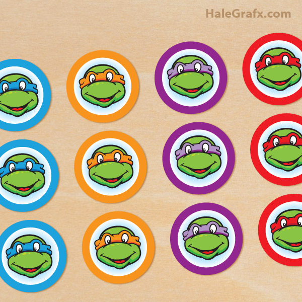 graphic regarding Ninja Turtle Printable named Totally free Printable Retro Teenage Mutant Ninja Turtle Cupcake Toppers