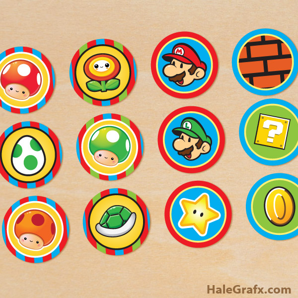FREE Printable Super Mario Bros Cupcake Toppers
