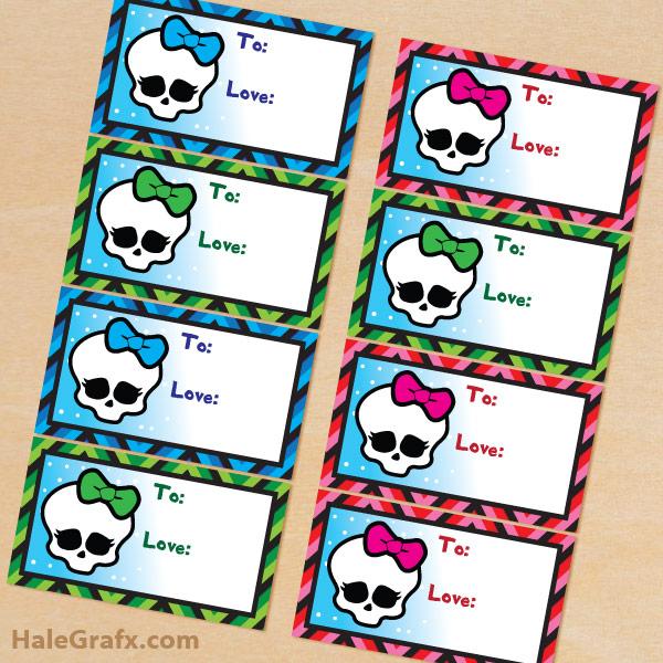 Printable Christmas Monster High Gift Tags