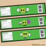 FREE Printable Angry Birds Pigs Water Bottle Labels