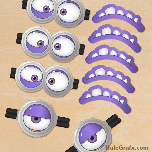 free printable despicable me 2 evil minion goggles and mouths. Black Bedroom Furniture Sets. Home Design Ideas
