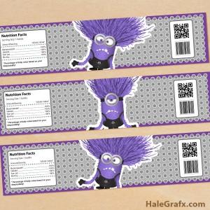 Free printable evil minion water bottle labels