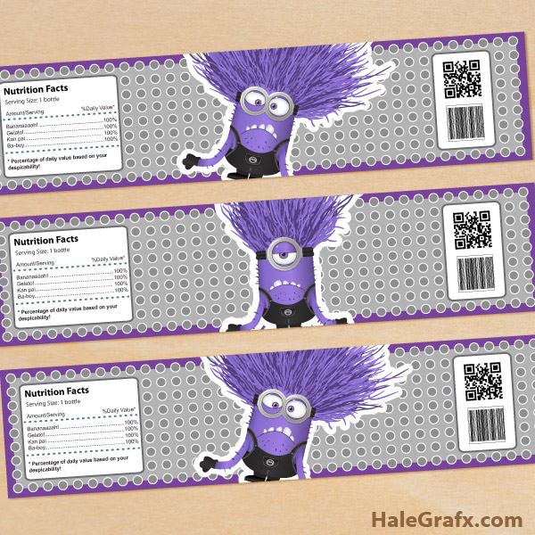 FREE Printable Despicable Me 2 Evil Minions Water Bottle Labels