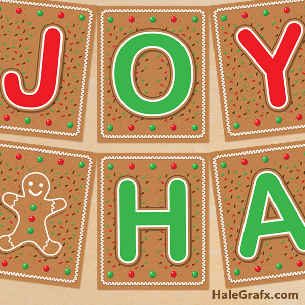 FREE Printable Christmas Gingerbread Party Banner
