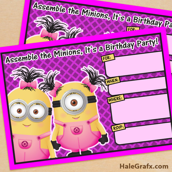 photograph relating to Minions Invitations Printable identified as Absolutely free Printable Despicable Me Woman Minion Birthday Invitation