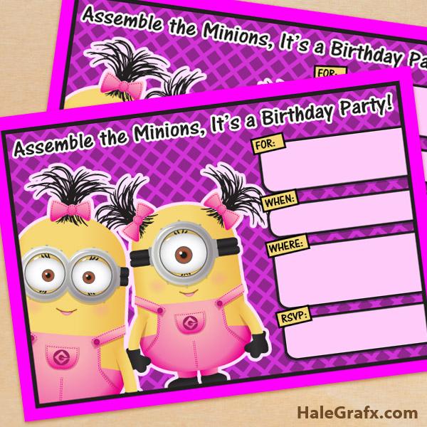 Free Printable Despicable Me Girl Minion Birthday Invitation