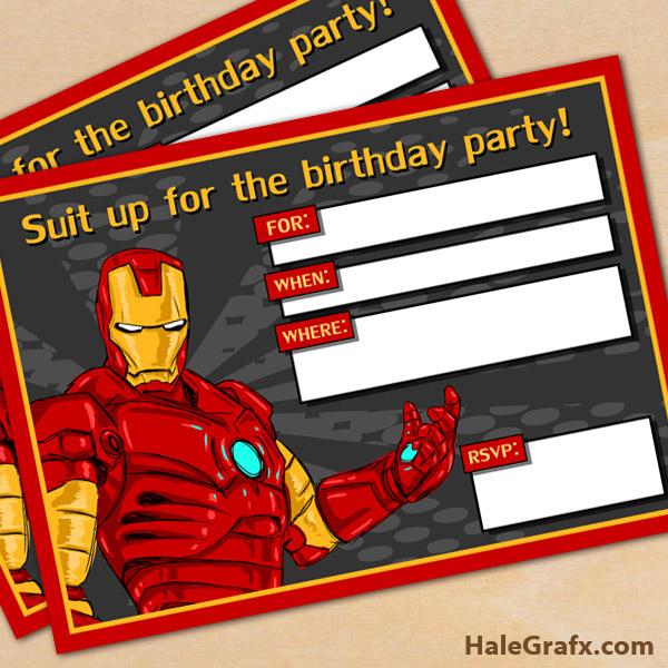 FREE Printable Avengers Iron Man Birthday Invitation