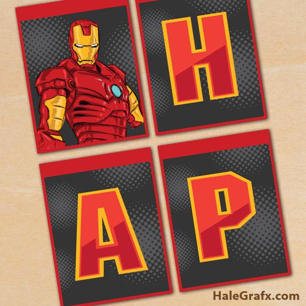 FREE Printable Iron Man Birthday Banner
