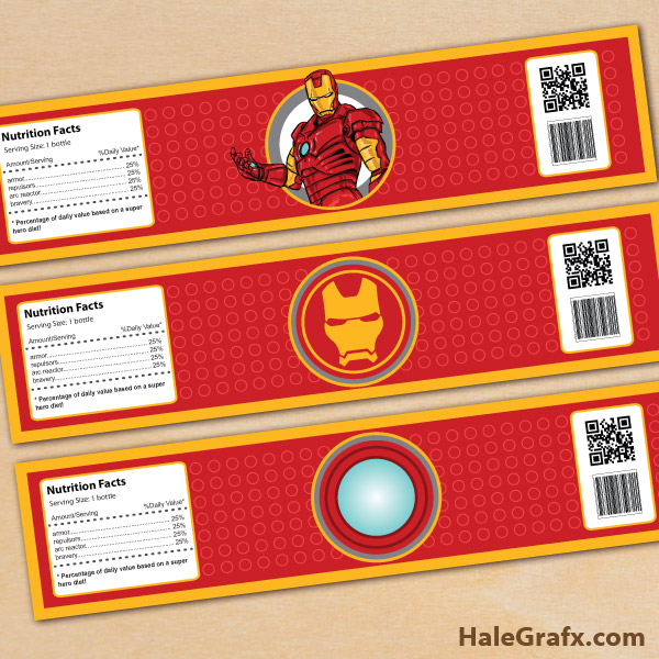 FREE Printable Iron Man Water Bottle Labels - Mini water bottle label template