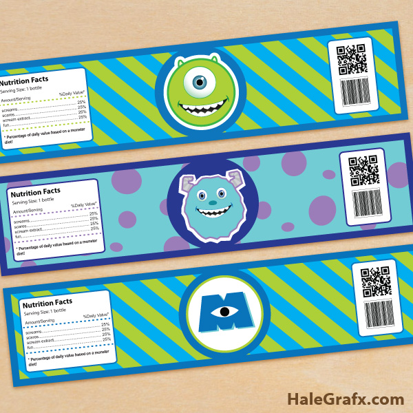 Water Bottle Zelda: FREE Printable Monsters Inc. Water Bottle Labels