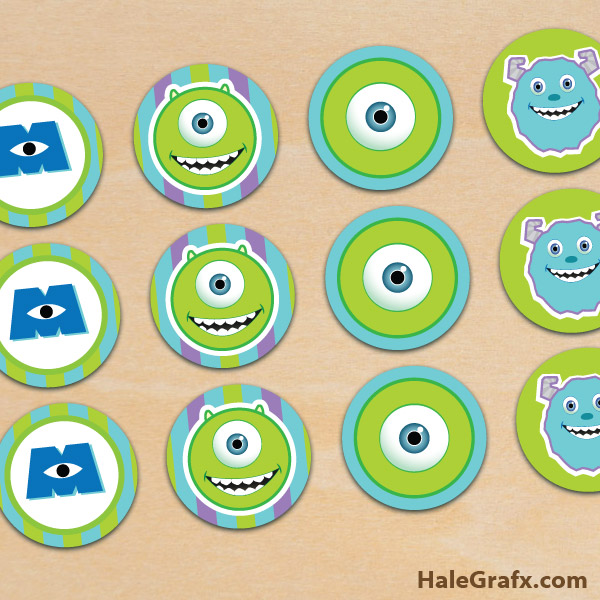 FREE Printable Monster Inc. Cupcake Toppers