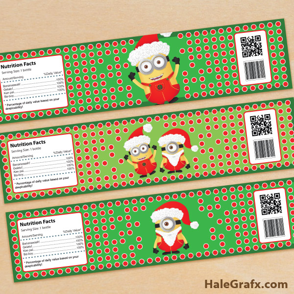 FREE Printable Christmas Minions Water Bottle Labels
