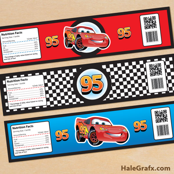 FREE Printable Disney Cars Lightning McQueen Water Bottle Labels
