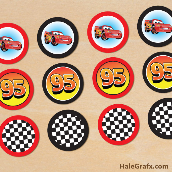 image regarding Free Printable Cars identified as Free of charge Printable Disney Autos lightning McQueen Cupcake Toppers