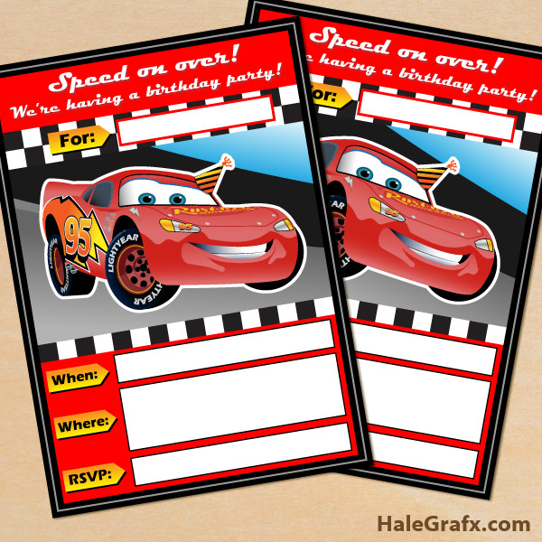 Persnickety image inside disney cars birthday invitations printable free