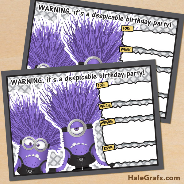photo regarding Printable Minion Invitations called Totally free Printable Despicable Me Evil Minions Birthday Invitation