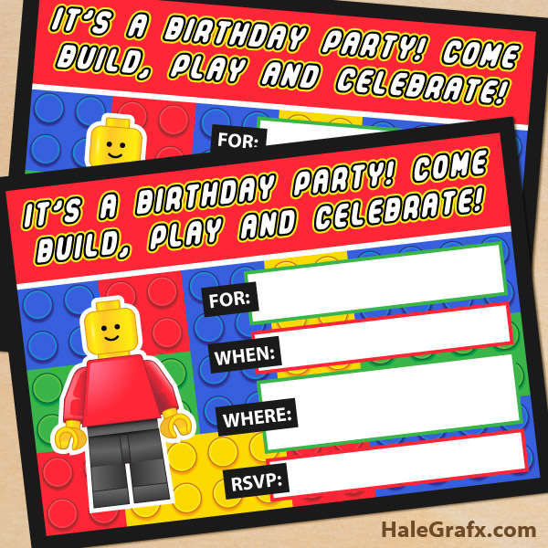 Printable LEGO Building Blocks Birthday Invitation - Party invitation template: free police party invitation templates