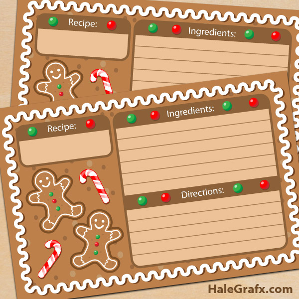 image about Printable Christmas Recipe Cards titled Totally free Printable Xmas Gingerbread Recipe Playing cards