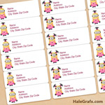 FREE Printable Girl Minions Address Labels