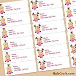 FREE Printable Girl Minions Address Labels
