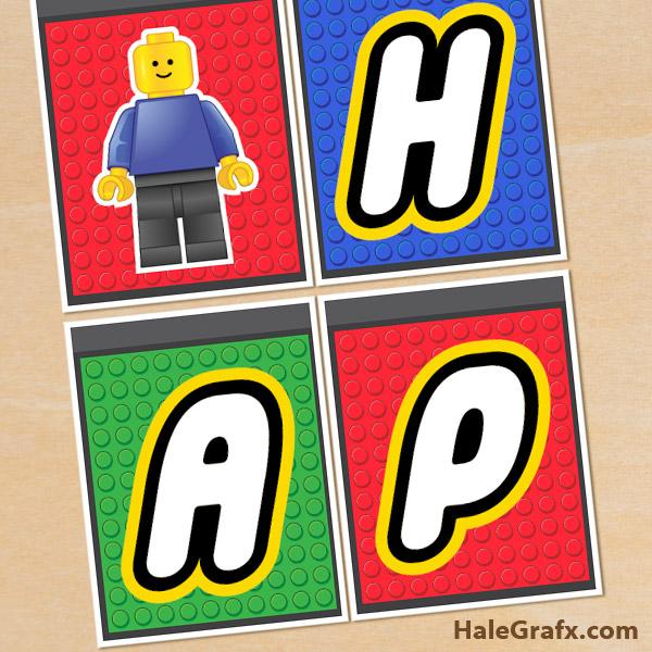 FREE Printable LEGO Building Block Birthday Banner