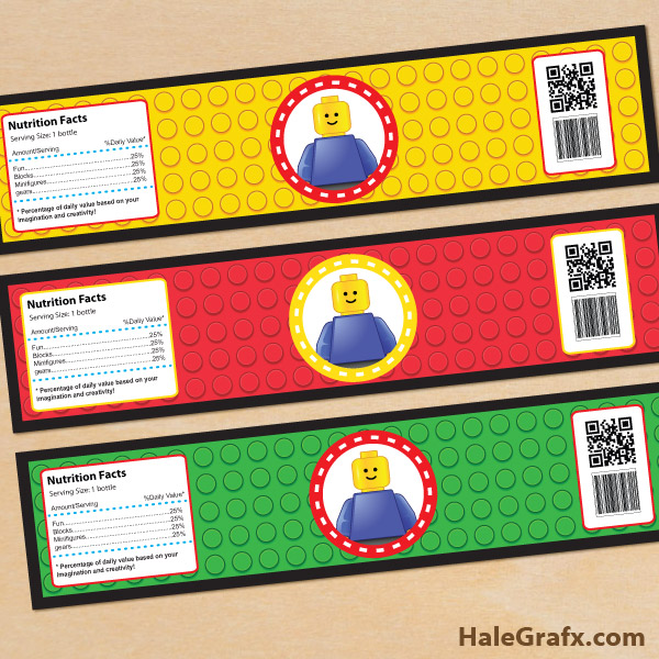 free printable lego building blocks water bottle labels