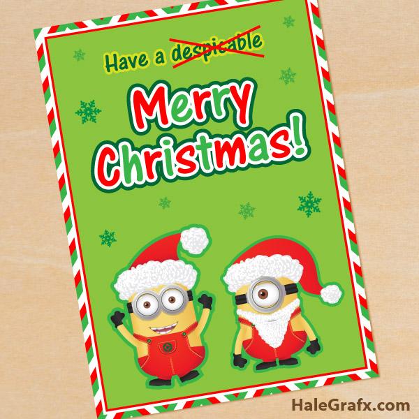 Minion Christmas.Free Printable Despicable Me Christmas Minion Greeting Card